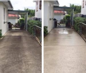 Concrete pressure cleaning before and after