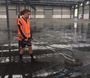 Large warehouse getting a high pressure cleaning makeover