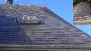 Cleaning roof tiles with a whirlaway machine.