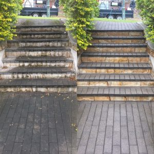 Cleaning garden steps