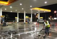 petrol station cleaning