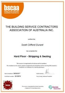 Certification: Scott, Hard Floor Stripping and Cleaning