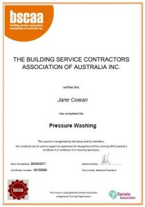 Certification: Jane, Pressure Washing